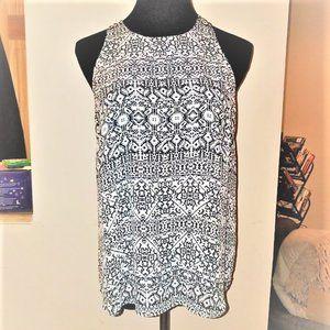 Violet & Claire Black/White Print Blouse #0186
